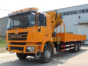 SHACMAN F3000 cargo trucks with XCMG crane